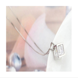 WHITE GOLD CUBE CRYSTAL NECKLACE