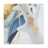 GOLD PLATED KEY CRYSTAL NECKLACE