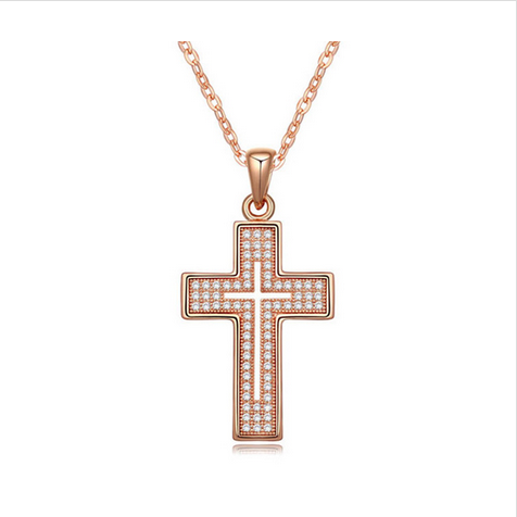 CRYSTAL CROSS NECKLACE - GOLD PLATED