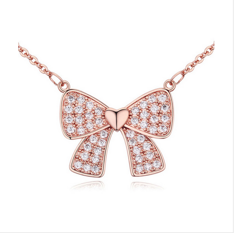 CRYSTAL BOWKNOT NECKLACE - ROSE GOLD PLATED