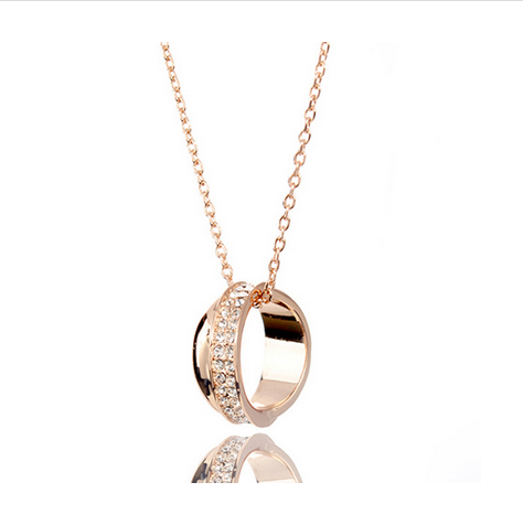 GOLD PLATED CRYSTAL RING PENDANT NECKLACE