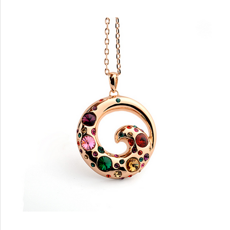 GOLD PLATED MULTICOLOR CRYSTAL NECKLACE