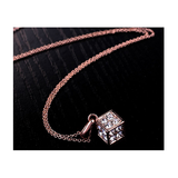 ROSE GOLD CUBE CRYSTAL NECKLACE