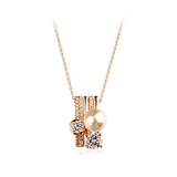 GOLD PLATED DOUBLE RINGS CRYSTAL NECKLACE
