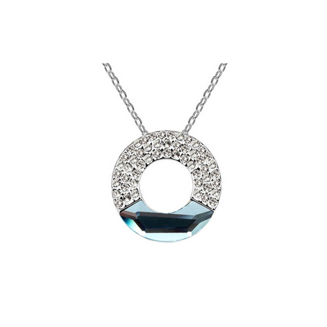 SILVER AUSTRIAN CRYSTAL ROUND NECKLACE