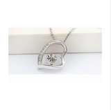 WHITE GOLD PLATED LOVE HEART SILVER NECKLACE