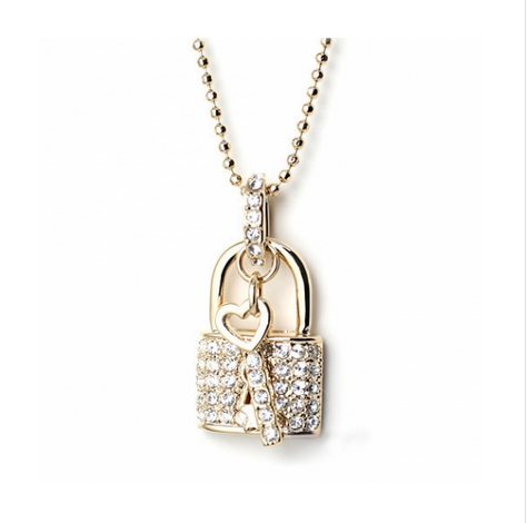 AUSTRIAN WHITE CRYSTAL LOCK OF LOVE HEART NECKLACE