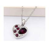 LOVE HEART TO HEART CRYSTAL NECKLACE - WHITE GOLD PLATED