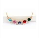 GOLD PLATED MULTICOLOR CRYSTAL LOVE NECKLACE