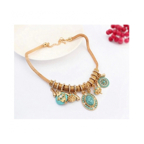VINTAGE PERSONALITY TURQUOISE STATEMENT NECKLACE