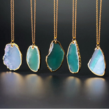 NATURAL AGATE IRREGULAR STONE PENDANT NECKLACE