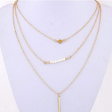 Gold Plated Beads Bar Multilayered Pendant Necklace