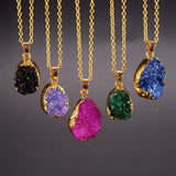 GOLD PLATED DRUZY QUARTZ PENDANT NECKLACE