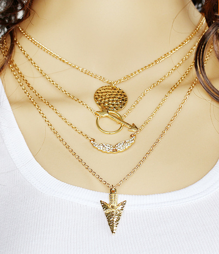 Gold Plated Arrow Coin Pendant Necklace