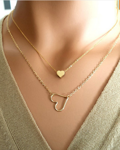 Gold Plated Hollow Heart Love Heart Charm Necklace
