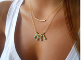 Gold Plated Bar Turquoise Charm Pendant Necklace