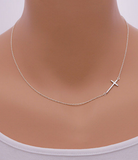 Cross Sideways Silver Plated Pendant Necklace