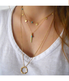Gold Plated Circle Disc Turquoise Pendant Necklace