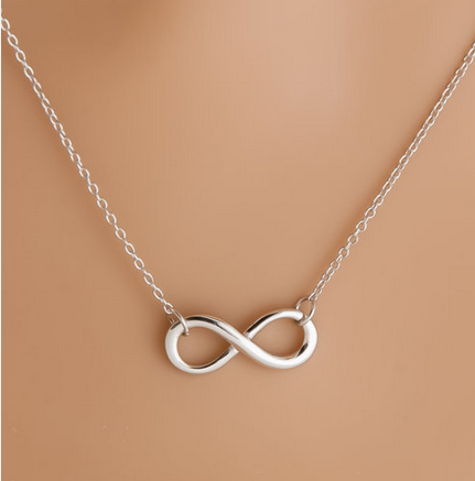 Silver Plated Infinity Charm Pendant Necklace