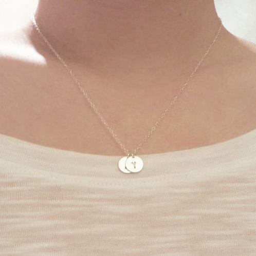 Sterling Silver Two Initials Monogram Discs Necklace