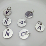 Silver Bird Two Initials Monogram Disc Charm Necklace