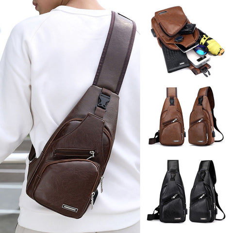 Men Chest Pack Messenger Sling Sport Travel Crossbody Shoulder Bag USB Charging