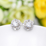 Silver Clear CZ Flower Crystal Stud Earrings