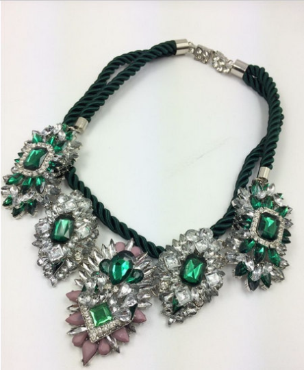 Vintage Style green color crystal chain choker Necklace