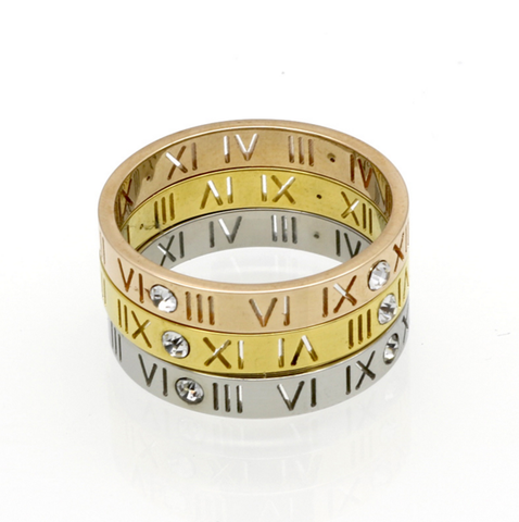 Roman Numbers Stainless Steel CZ Punk Rock Ring