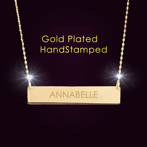 Kim Kardashian Style Personalized Gold Name Plate Necklace