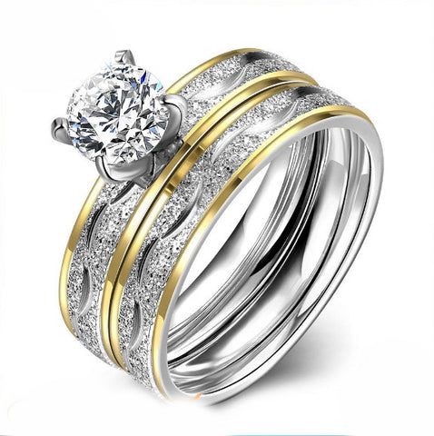 Stainless Steel Gold Plated White CZ 2 Rings Set