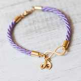 Gold Plated Infinity Leaf Charm Personalized Bracelet