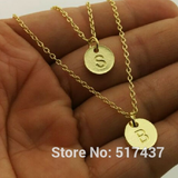 Gold Plated Two Initials Monogram Disc Charm Necklace