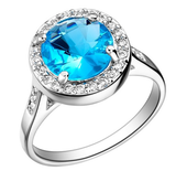 Silver Plated Blue Big Sapphire Crystal Wedding Ring