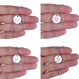 Silver Plated Initial Monogram Disc Charm Necklace
