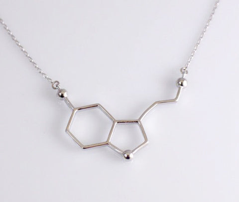Silver Plated Serotonin Molecule Necklace