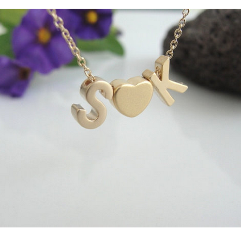 Gold Filled Personalized Two Initials Heart Necklace
