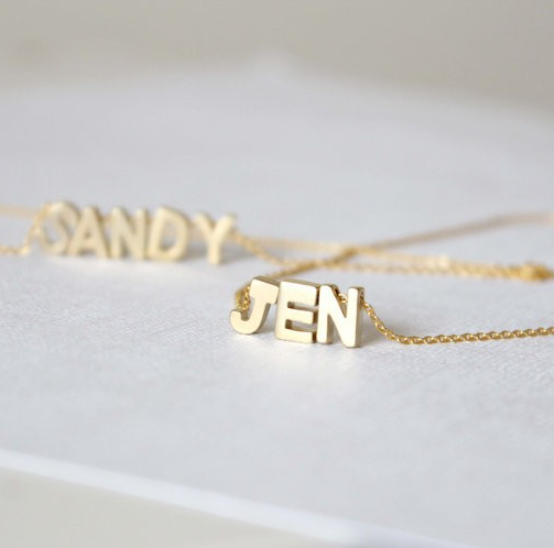 Custom made gold plated name initial letters necklace malala jewelry custom made gold plated name initial letters necklace aloadofball Images