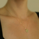 Gold Plated Stamped Monogram Disc Necklace