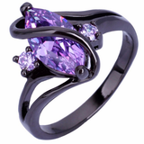 Luxury Black Gold Filled Pink Sapphire Oval Crossed Ring