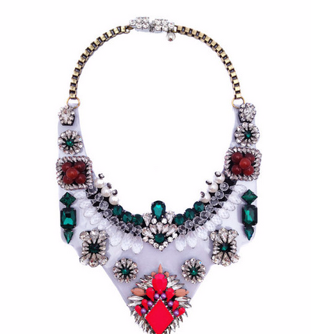 fashion crystal chunky shourouk PVC chain statement necklace