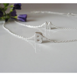 Sterling Silver Double Stranded Initials Charm Necklace
