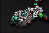 vintage crystal charm flower choker necklace pendant
