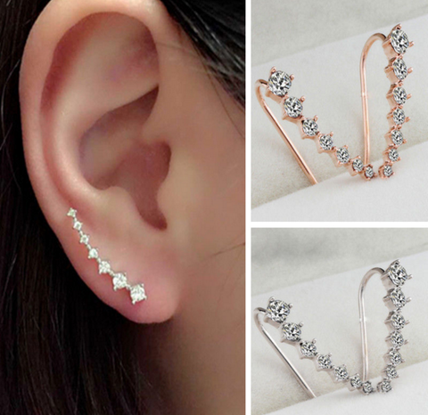 Chic Gemstone Ear Crawlers Crystal Ear Climber Earrings