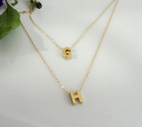 Gold Plated Personalized Double Stranded Initials Necklace