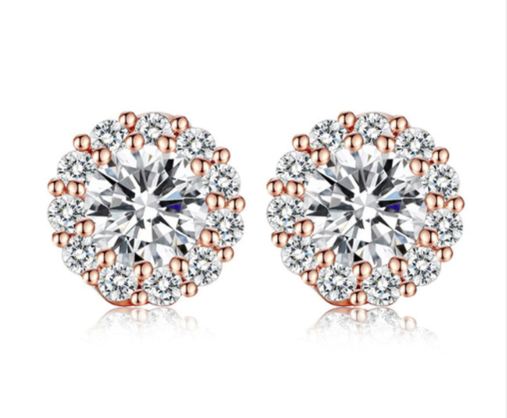 Fashion Gold Plated 5 Colors Round Crystals Stud Earrings AAA Zircon