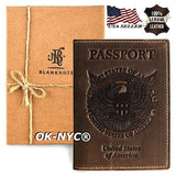 100% Genuine Leather VINTAGE PASSPORT COVER Travel Wallet Holder ID Cards Case