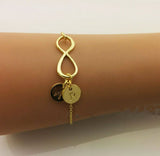 Gold Plated Infinity Two Initials Disc Bracelet
