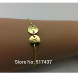 Silver and Gold Two Initials Monogram Disc Bracelet