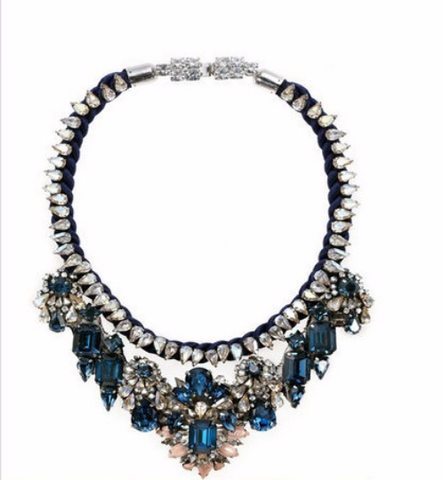 Blue Luxury shourouk Choker Crystal bib chunky flower Necklace